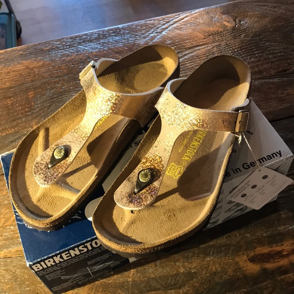 uk availability b252a 1cb4d Birkenstock Gizeh stardust gold new sandals 40 9 NWT